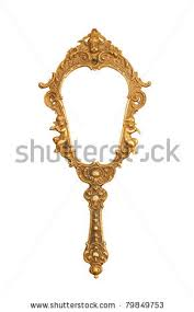 Vintage hand held mirror isolated on white stock photo Vector