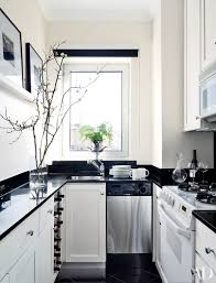 designer larry laslo updated the galley kitchen of a new york apartment with a black and white palette