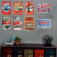 rustic metal signs vintage shabby chic metal tin signs garage car full service gas station rustic wall plaque garage