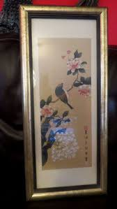 vintage framed chinese painting on silk bird with flower signed unknown