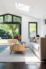living room extension. contemporary living room extension lit from above r