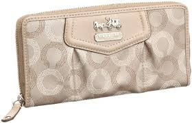 Coach Madison Signature Op Art Zip Around Long Wallet Khaki - Coach 44365KHA
