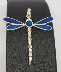 deep cobalt blue silver dragonfly pendant