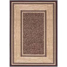 contemporary bordered design brown 5 ft x 7 ft non skid area rug