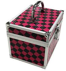 image is loading pink checked beauty cosmetic box make up vanity