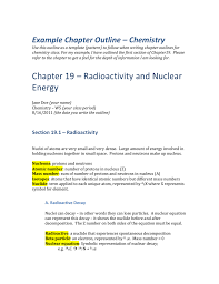 Example Chapter Outline Chemistry