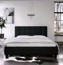 Queen size platform Bed Frame W/ black Headboard U