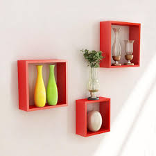 ... Wall Block Shelves 3 Pieces Square Stunning Red Stained Wooden Shelf  Decorative Wooden Shelves For The ...