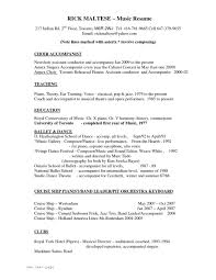 Music Resume Resumes For College Applications Business Skills