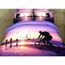 unique riding bicycle on beach scene print 4 piece bedding sets duvet cover sets beach scene
