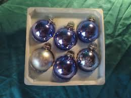 Details Zu 6 Alte Christbaumkugeln Glas Blau Weiß Besandet Christbaumschmuck Vintage Cbs