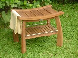 teak shower bench drawer