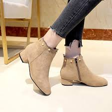 2019 black gray women boots suede leather ankle boots for women fashion round toe low thick heel las shoes with pearls boots uk winter boots from