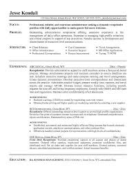 Example Receptionist Resume Free Sample