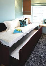black coated wooden pull out bed frame