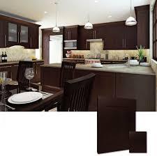 Wall Mounted Kitchen Cabinets Cute L Shape Espresso Kitchen Cabinets With Double Door Kitchen
