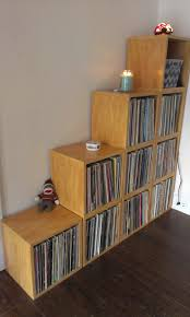 vinyl record furniture. Oak Vinyl Record Album Storage Cube And Stackable Shelf Furniture T