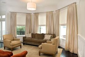 image of cream living room window curtains