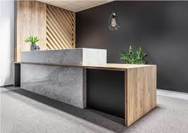 modern office reception desk. Black Accent Wall With Nice Greeny Marble Decorated Ikea Reception Desk For Modern Office Design O