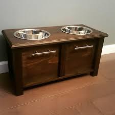 custom dog bowl stand w storage by beardmadecww on pets regarding wooden designs 8