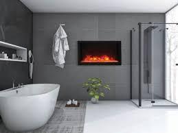 bi 40 deep xt 40 wide deep indoor or outdoor built in only electric fireplace with black steel surround