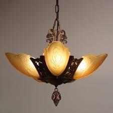 wonderful antique five light art deco slip shade chandelier markel electric s preservation station nashville tn