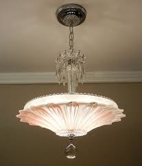 pink light fixture vintage art deco sunflower chandelier 1940s chrome rosepink petal glass ceiling light fixture
