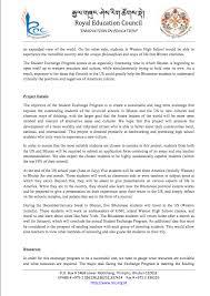gross national happiness exchange program  document signed gross national happiness exchange program student exchange program project descripition