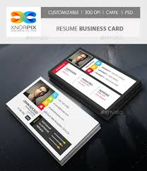 Resume Business Cards Extraordinary Resume Business Card By Axnorpix GraphicRiver
