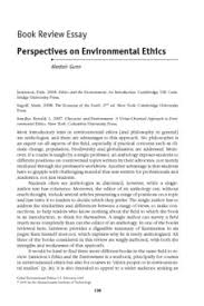 Book Review Essay Perspectives On Environmental Ethics