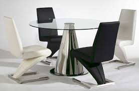 image of contemporary leather dining chairs black and white
