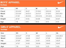 Nike Boys Size Chart Nike Size Chart Mens Clothing Prosvsgijoes Org