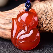 whole the natural red onyx jade fox small animal jade pendant can promote the couple s love of happiness gold necklaces cat pendant necklace from