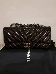 chanel patent leather chevron vintage handbag luxury bags wallets handbags on carou