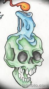 эскиз тату свеча и череп 12082019 040 Sketch Tattoo Candle And