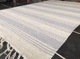 soft dark grey off white stripe cotton jute indian rug