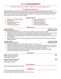 teacher resume example emphasis professinal summary