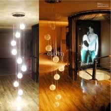 Pendant Lighting Living Room 200cm Height 10 Glass Aluminum Wire Balls Stair Pendant Light