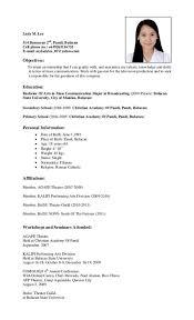 Sample Resume Format For Ojt Students Gentileforda Com