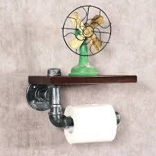 toilet paper shelf industrial silver urban rustic iron pipe toilet paper roller holder wood shelf toilet