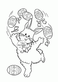 Funny Easter Bunny Coloring Page For