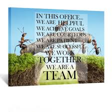 Kreative Arts Canvas Quotes Office Inspirational Sayings Words Wall Decor Teamwork Definition Motivational Quotes Ants Constructing Bridge Poster