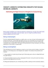 Weight A Minute Estimating Weights For Scuba Diving In A Minute