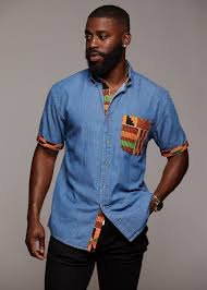 Kente Shirt Designs Mosi Mens African Print Denim Shirt Yellow Green Kente