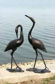 crane garden statues cast aluminum outdoor bronze cranes sydney bronz