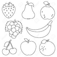Enjoy these images of fruits and vegetables in our gallery. Vector Illustration Fruits Coloring Page Royalty Free Cliparts Fruit Pages Outline Tures For Basket Pictures Colouring Pear Lemon Oguchionyewu