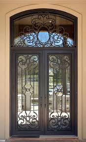 front french doorsMediterranean Front Door with French doors  Transom window