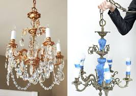 paint a chandelier copper spray silver