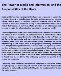 essay the power of media and information and the responsibility  comments