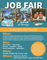 sarasota manatee originals job fair at sharky s on the pier sharkys job fair flyer 10 7 14